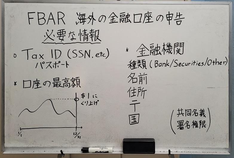 FBARに必要な情報